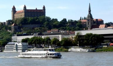 Bratislava, Slovakia. Enjoyably, one of the best ways of getting there is to fly to Vienna and sail down the Danube on one of the boats in the foreground. We were here for a meeting with the General Manager of Nestle Slovakia, a very entertaining Frenchman.