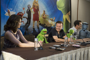 Tina Fey, Kermit the Frog, Ricky Gervais, Constantine, Ty Burrell and Sam Eagle speak at the press conference at the Muppets Most Wanted Press Junket on March 9, 2014 at the Beverly Hilton Hotel. Photo by: Patrick Wymore. ©2014 Disney Enterprises, Inc. All Rights Reserved.