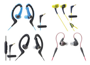 SonicSport ATH-SPORT1, ATH-SPORT1iS, ATH-SPORT2 and ATH-SPORT3 headphones, four in-ear models designed for fitness-oriented wearers.