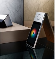 Aluminum panel and touchscreen on BeoSound Moment. Image courtesy of Bang & Olufsen.