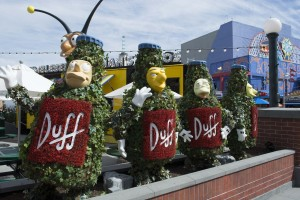 Duff Deer mascots adorn the outside of the Duff Beer Garden.