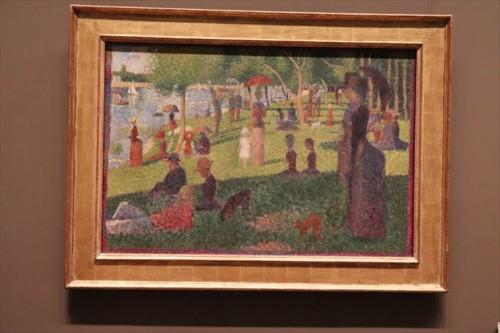 スーラの「グランド・ジャット島の日曜の午後」。シカゴ美術館が本作で、こちらは習作。そのほかにもゴッホやゴーギャン、ルノワール、モネ、ピカソなど数えたらきりがないほど有名作家の有名作品が展示されています