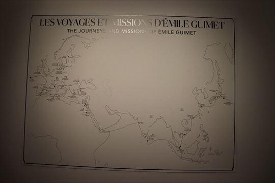 ギメが調査などで旅した地。これによると1876年8月から11月まで日本に滞在し、横浜、東京、日光、鎌倉、名古屋(伊勢)、京都、神戸などを訪れたことがわかります