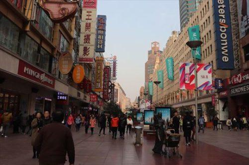 歩行者天国になっていて買い物客で賑わっています