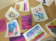 R.A. Riddell Elementary School primary grade students' printmaking plates and prints