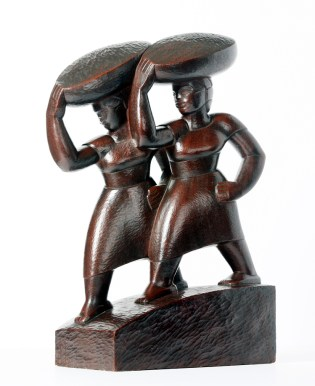 """Edna Manley (Jamaican, 1900 – 1987), """"Market Women,"""" 1936, Mahogany 20 x 6¾ x 12 inches, Gift of Elsie Myers, 1973.1"""