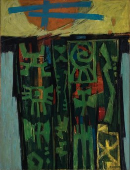 """Hale Woodruff, American (1900 – 1980), """"Celestial Gate,"""" 1953, oil on canvas, 65 x 45½ inches, gift of Catherine and Chauncey Waddell, 1968.1.4"""