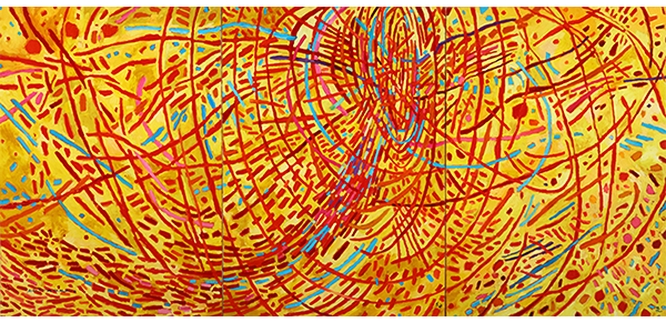 Magnetic Fields, 1991   Oil on canvas. 70.5 x 150 inches.   Courtesy the Estate of Mildred Thompson and Galerie Lelong & Co., New York