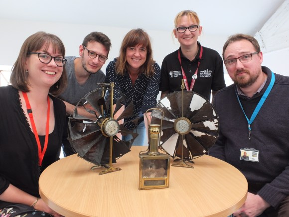 George and Charlie with the Barnsley Museums team and their anemometer collection!