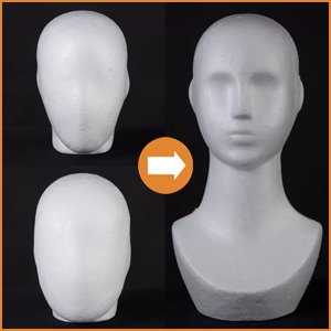 Styro-foam display heads