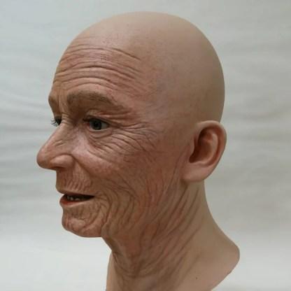 Elderly lady display head with airbrushed wrinkles
