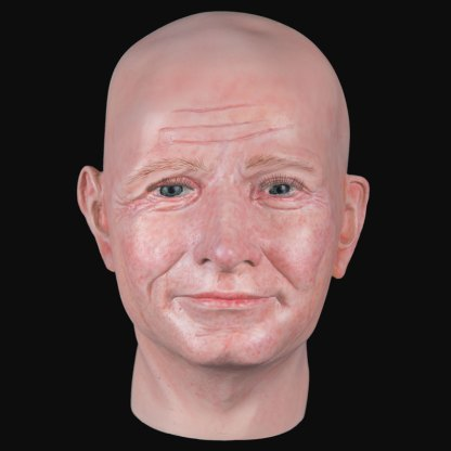 Airbrushed male airbushed fibreglass head front view