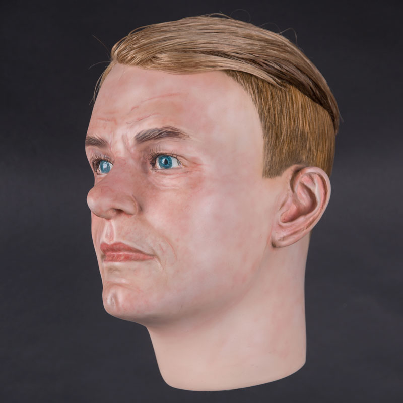 Airbrushed male mannequin head with glued hair (mha876)