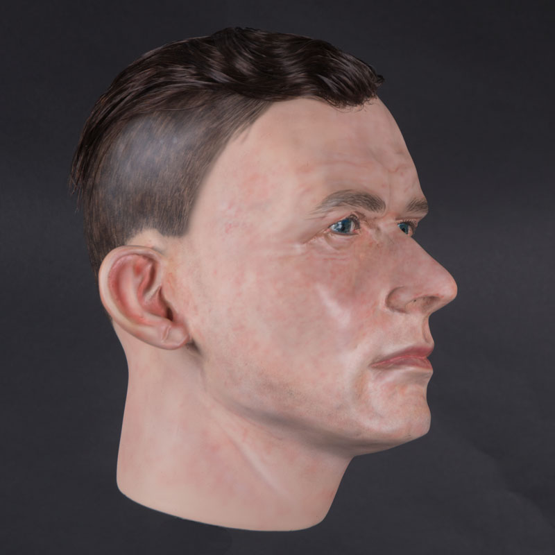 Airbrushed male mannequin head with glued hair (mha879)