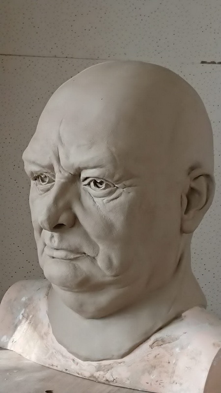 Winston Churchill look-alike mannequin head clay model