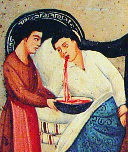 A TB patient is depicted coughing up blood.  Image from the US National Library of Medicine.