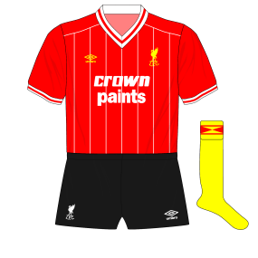 1982-1983-Liverpool-alternative-home-kit-black-shorts-yellow-socks-Watford