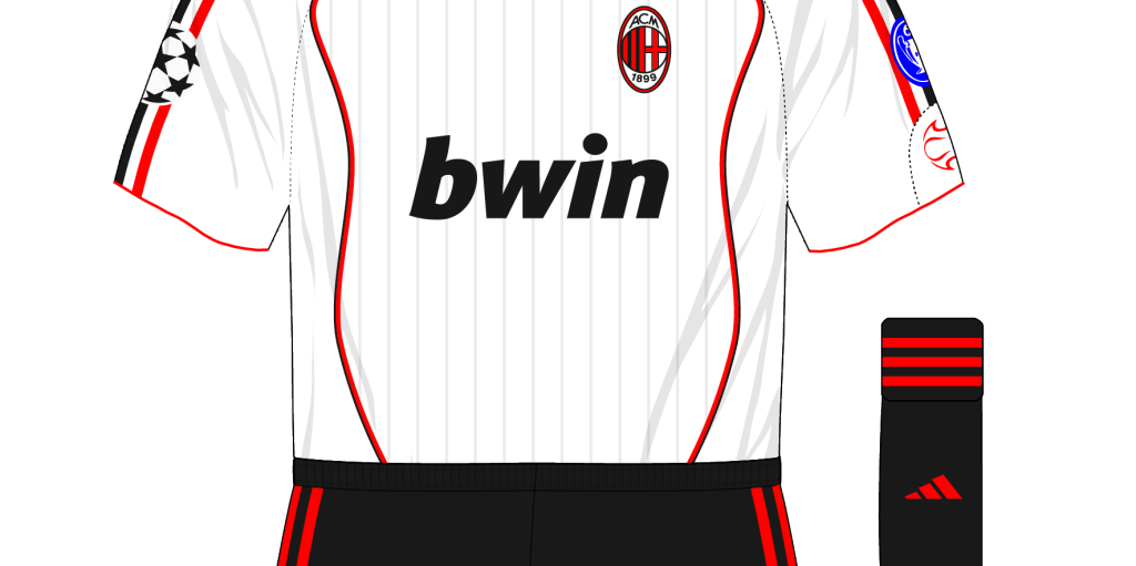 AC-Milan-2007-adidas-white-away-kit-black-shorts-Manchester-United-Old-Trafford-Kaka