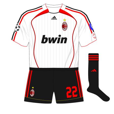 AC-Milan-2007-adidas-white-away-kit-black-shorts-Manchester-United-Old-Trafford-Kaka
