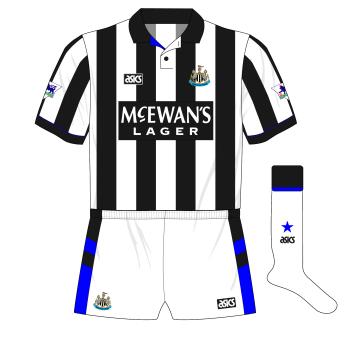 Newcastle-United-1993-1995-asics-home-kit-white-short-socks-Wimbledon