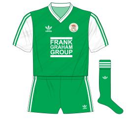 Hibernian-adidas-1987-1989-home-kit-shirt-Frank-Graham-Group-green-shorts-Celtic-change-half-time
