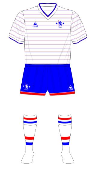 Chelsea-1984-1986-Le-Coq-Sportif-away-jersey-blue-shorts-Rangers-friendly-01