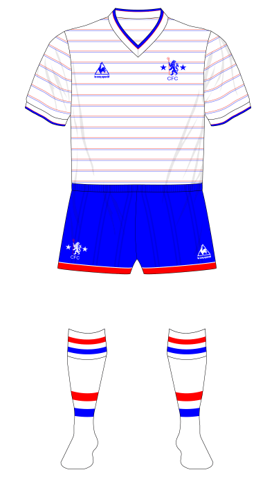 Chelsea-1984-1986-Le-Coq-Sportif-away-jersey-blue-shorts-Rangers-friendly-01