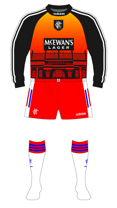 Rangers-1996-1997-adidas-goalkeeper-shirt-Ibrox-Dibble-red-shorts-white-socks-01