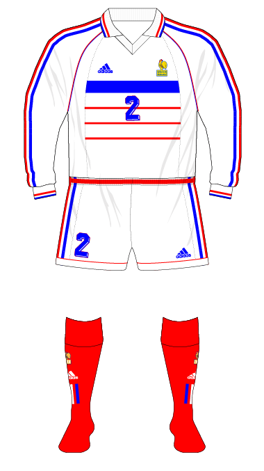competitive price 9de04 f2bb3 France-1998-adidas-away-kit-white-shorts-red-socks-Russia-01 ...