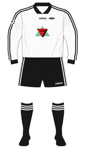 Rosenborg-1996-adidas-home-shirt-Champions-League-black-socks-Milan