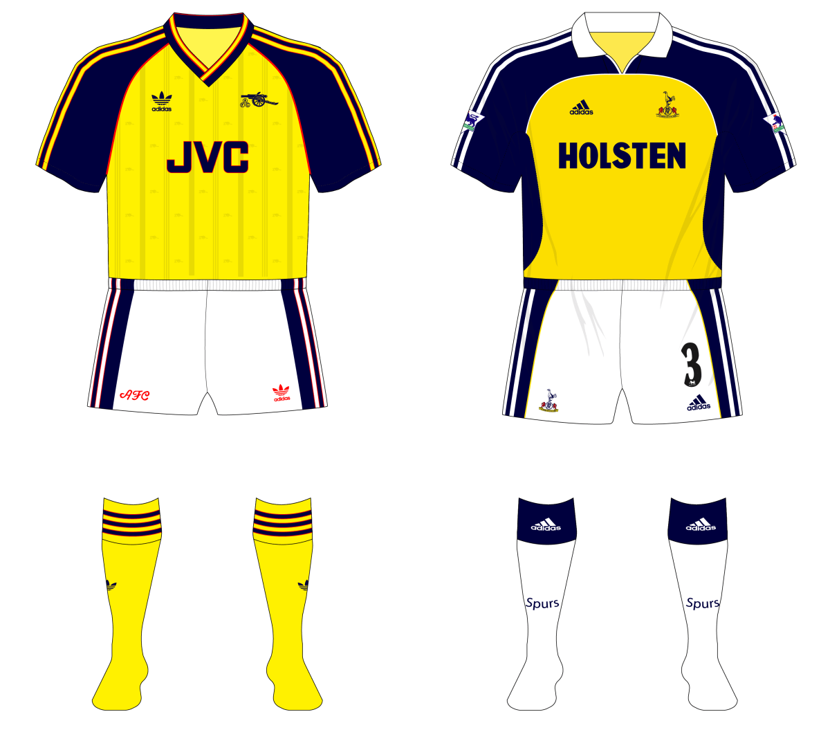 Lookalikes No 5 Arsenal And Tottenham Hotspur Museum Of Jerseys