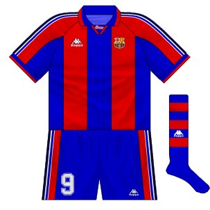 1995-97 Barcelona European home kit