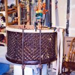 African Carved Barrel Table.