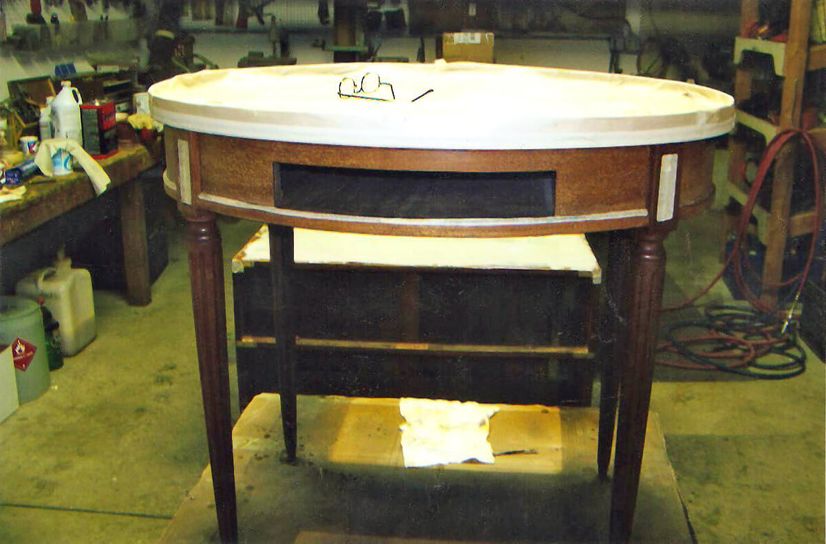 Indian wells furniture restoration french marble top end for Furniture restoration