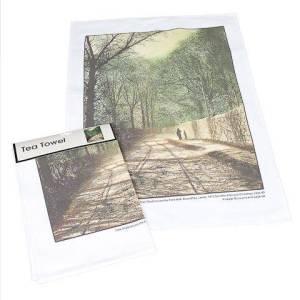 Tree Shadows on the Park Wall Tea Towel pic