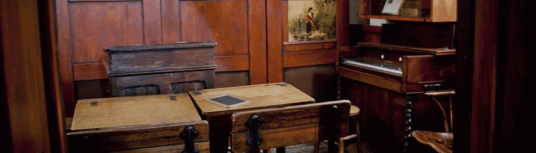 Victorian school desk, chair and piano