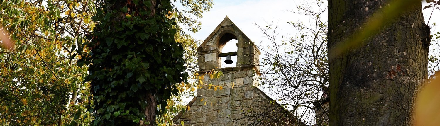 Bell hanging from a bell tower, surrounded by trees