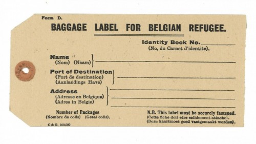 A blank luggage label of the type given to Belgian refugees who arrived in Otley during the First World War