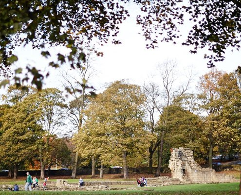 A view of the ruins in the park at Kirkstall Abbey