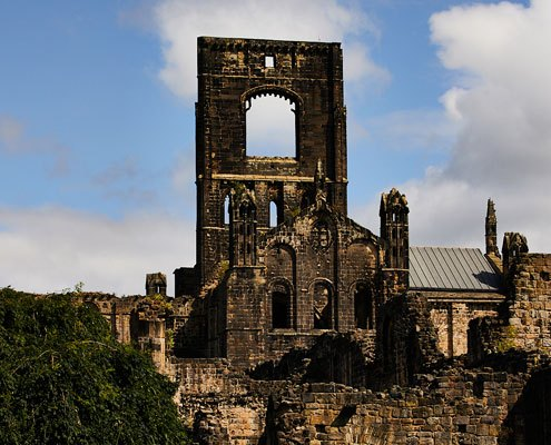The exterior of Kirkstall Abbey