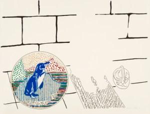 Sigmar Polke (1941-2010) Schuldruck, 1972 Siebdruck und Blindprägung auf Bristol-Karton, Stanzung mit Transparentpapier hinterklebt, darauf Siebdruck in Blau, mit Glitterfarben übermalt, 49 x 64,5 cm Sammlung Deutsche Bank im Städel Museum, Städel Museum, Frankfurt am Main © The Estate of Sigmar Polke, Cologne / VG Bild-Kunst, Bonn 2016 Foto: Städel Museum - ARTOTHEK