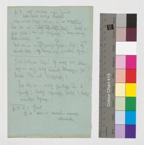 Beiliegendes Manuskriptblatt von Friedrich Nietzsche mit Textkorrekturen am Zarathustra