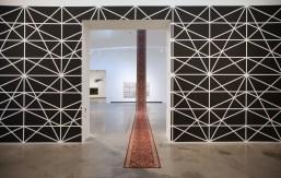 Exhibition view: Tim Cierpiszewski, GAME PLAYER, 2016. And Nevin Aladağ, Carpet, 2016 Photo: Hans Schröder, Marta Herford