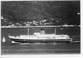 TEV Wahine steaming in Wellington Harbour