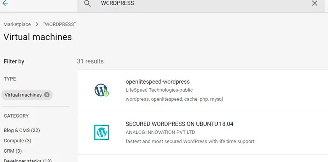 Google Cloud WordPress