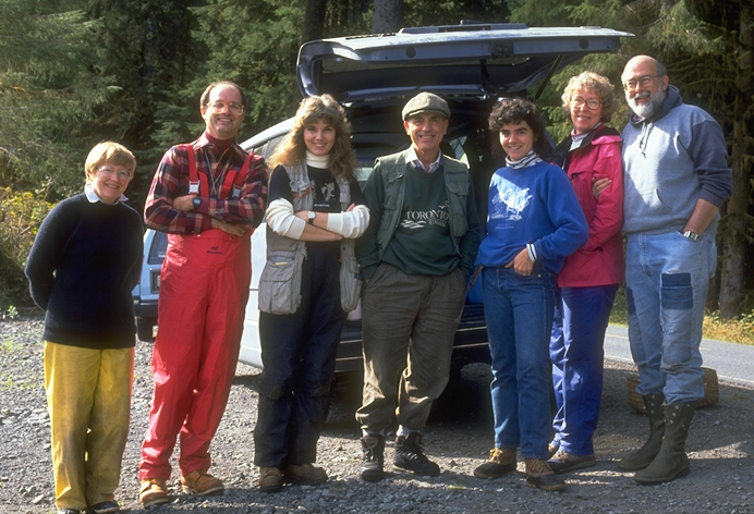 The Great Phaeocollybia Expedition of '92. L-R: Libby Fox, Scott Redhead (in mushroom-hunter camo), Lorelei Norvell, George Barron (in poacher's garb) Coleman McClenaghan, Karen Hughes, Ron Petersen.