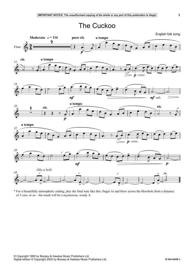 "English Folk Song ""The Cuckoo"" Sheet Music  Download Printable"