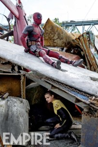 """Ryan Reynolds y Brianna Hildebrand en """"Deadpool""""."""