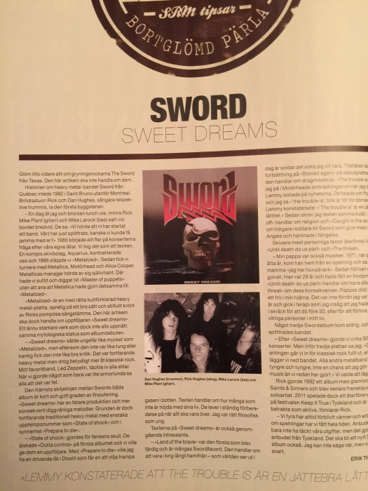 "Review of ""Sweet Dreams"" by Sword from Sweden Rock Magazine"