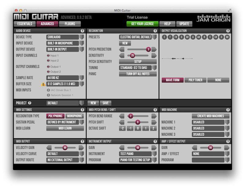 O Jam Origin não necessita de nenhum dispositivo além de uma maneira de levar o sinal do captador - ou até mesmo um microfone - ao computador.
